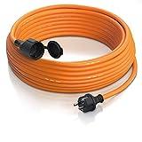 Brandson - Cable alargador Schuko 20m para Exteriores - MAX 3500 W - IP44 - Enchufe con Tapa Protectora - Cobre Revestimiento Flexible de Goma - Resistente a Lluvia Impactos, aceites, UV