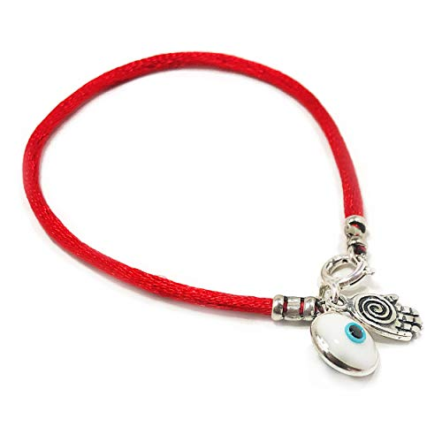 3 in 1 Evil Eye Charm Bracelet for Luck with Silver Hamsa Hand of Fatima Protection Charm on Lucky Red String - Stylish Bracelet for Women, Mom, Wife, Girlfriend or BFF