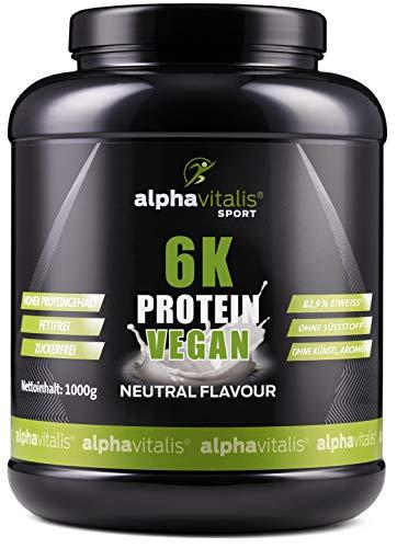 PROTEINPULVER Neutral VEGAN - 6K Protein 1 Kg - 82,9% Eiweiß-Shake ohne Süßstoff - zuckerfrei / fettfrei / laktosefrei - natürlich auch zum Kochen und Backen - 1000g Pulver mit Natural Flavor
