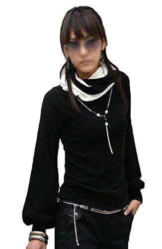 Mississhop Slmn Japan Style Damen Bluse Longshirt mit Rollkragen Tunika Pullover Schw.-Weiß S