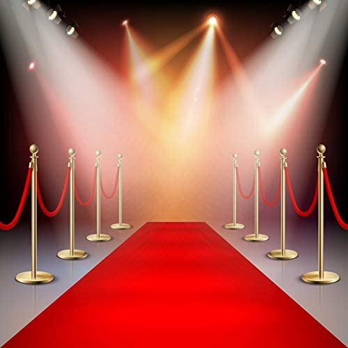 Red Carpet Stage Backdrop 10x10ft Vinyl Long Red Stars Carpet Yellow Columns Shiny Spotlight Photography Background Live Show Performance Banner Adult Child Portrait Photocall Event Shoot