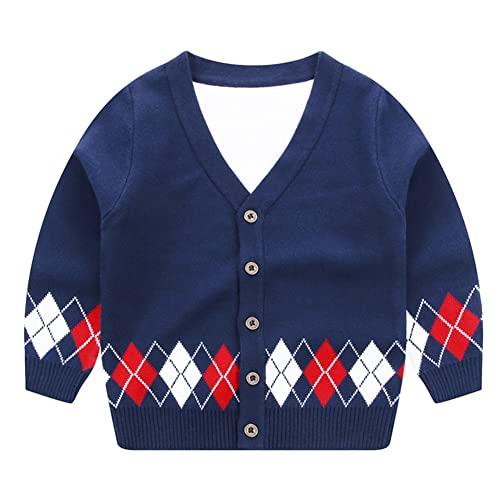 LittleSpring Toddler Boys V-Neck Argyle Cardigan Sweater Button Down Winter Soft Warm Navy 3T