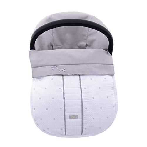 Funda + Saco Universal para silla de coche GRUPO 0 Rosy Fuentes en color blanco gris
