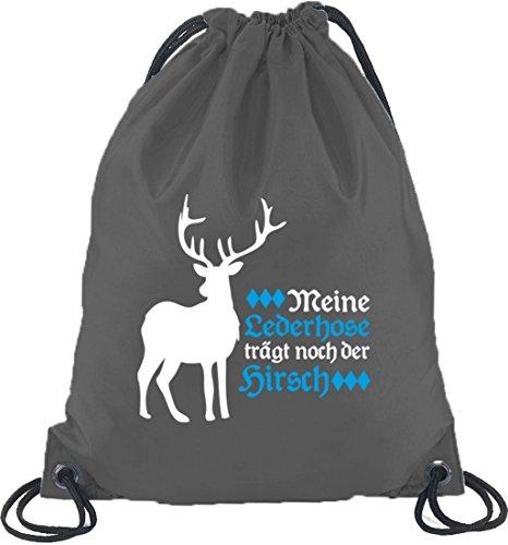 Oktoberfest Kostüm Turnbeutel Rucksack Sport Beutel mit Meine Lederhose trägt noch der Hirsch Motiv, Größe: onesize,Dunkelgrau