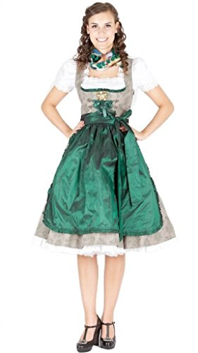 Lola Paltinger Dirndl Happy Heidi Leinen 70er grün 12929 Size 34