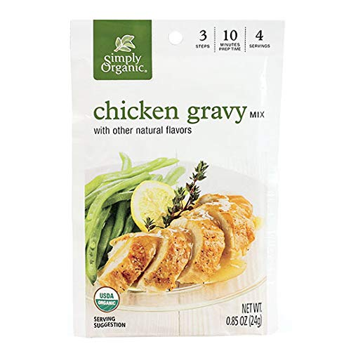 Simply Organic Chicken Flavored Gravy Mix, Certified Organic, Gluten-Free | 0.85 oz | Pack of 12