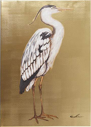 Kare Design Bild Touched Heron Right, XXL Leinwandbild auf Keilrahmen, Wanddekoration mit Vogel, bunt, Gold (H/B/T) 70x50x4cm