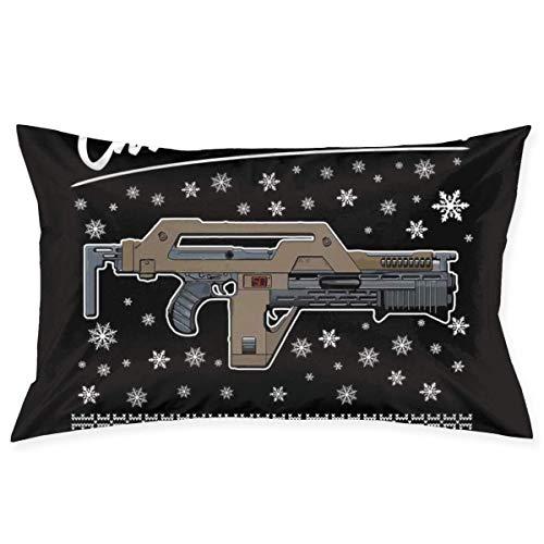 WH-CLA Pillow Cover Alien All I Want For Christmas Is A Pulse Rifle Hom Funda De Almohada De Cumpleaños para Sofá, Cama, Habitación, Rectángulo, Anime, Regalo De Apartamento, Año Nuevo,