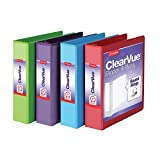Cardinal 3 Ring Binders, 2 Inch Binder with Round Rings, Holds 475-Sheets, ClearVue Covers, Non-Stick, PVC-Free, Assorted Colors, 4 Pack (29311)