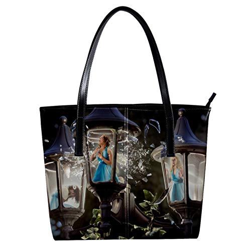 LORVIES Laternen-Klang-Feen, Schultertasche aus PU-Leder und Handtasche für Damen