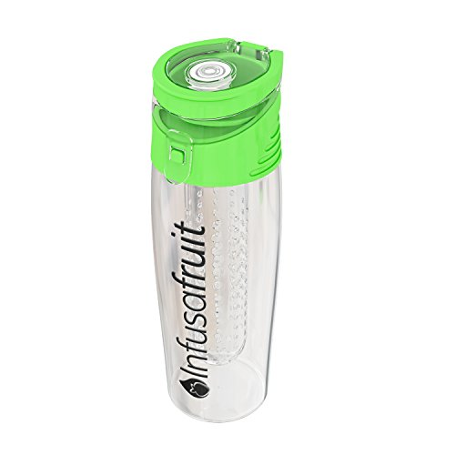 Fruit Infuser Water Bottle - Will You Gulp The Pulp? | Make Your Water Yummy! Leak Proof, BPA Free, 700ml Infusion Water Bottle by InfusaFruit (Green)