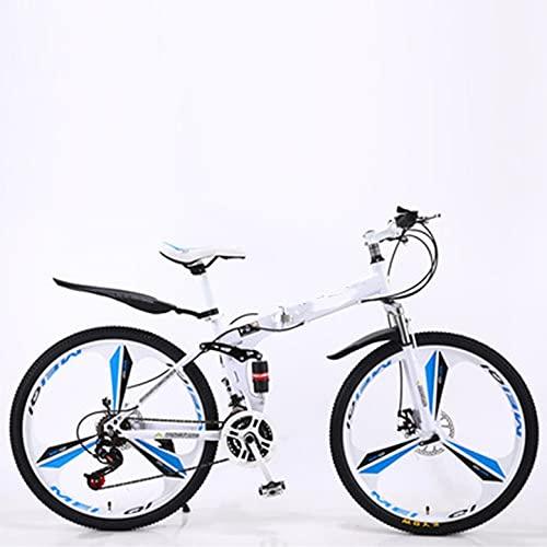 LYXQ Bicicleta Plegable Bicicleta Plegable 21-24 Velocidades Acero Al Carbono Ruedas De 24-26 Pulgadas Fácil con Freno De Disco,Portaequipajes Trasero,Guardabarros Delantero Y Trasero