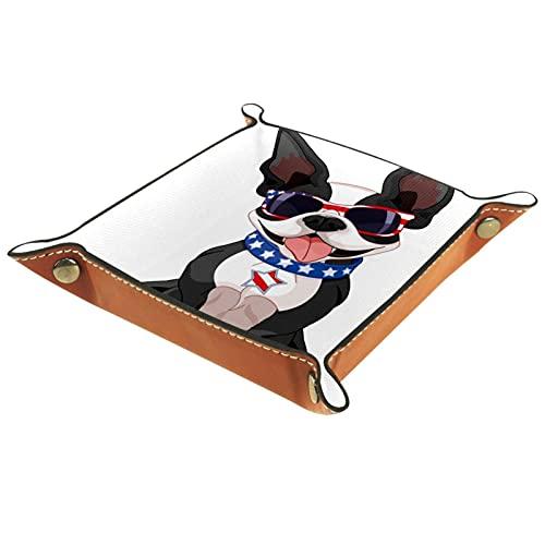 Cabecera Bandeja de cuero 20.5x20.5CM,Boston Terrier celebrando
