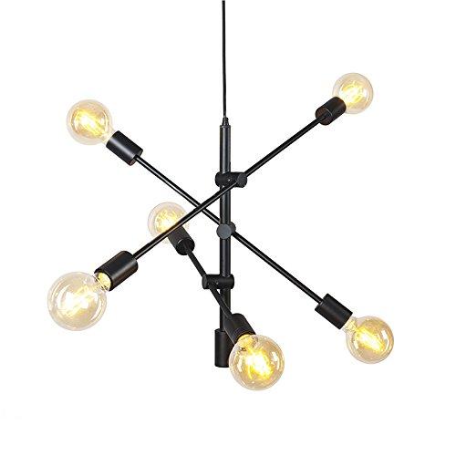 QAZQA Lámpara colgante industrial negra 6 luces - Sydney Ac