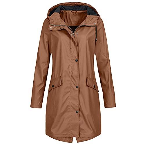 Chaqueta de lluvia para mujer, talla grande, resistente al agua y al viento, con capucha, bolsillo largo, monocolor, cierre de cremallera, chaqueta deportiva larga, caqui, M