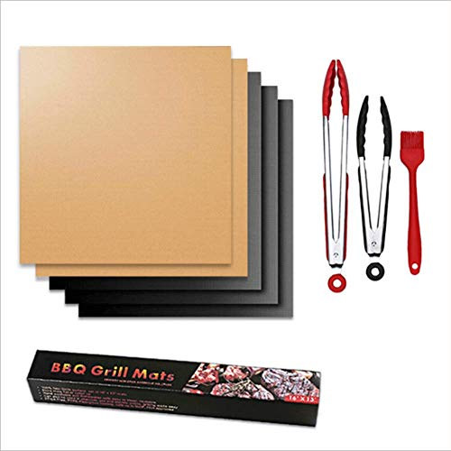 BBQ Mat Set, Koper Grill Mat, Outdoor Baking Mat - Makkelijk schoon te maken - Antistick Herbruikbare Grilling Baking Kookmatten (Zwart, Goud)