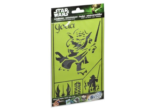 Orbis Airbrush, Orbis-Schablonenset Star Wars Meister Yoda, selbsthaftende und flexible Profi-Airbrush-Schablonen, für alle Untergründe geeignet, Bogen DIN A5 mit mehreren Schablonenmotiven - 30485