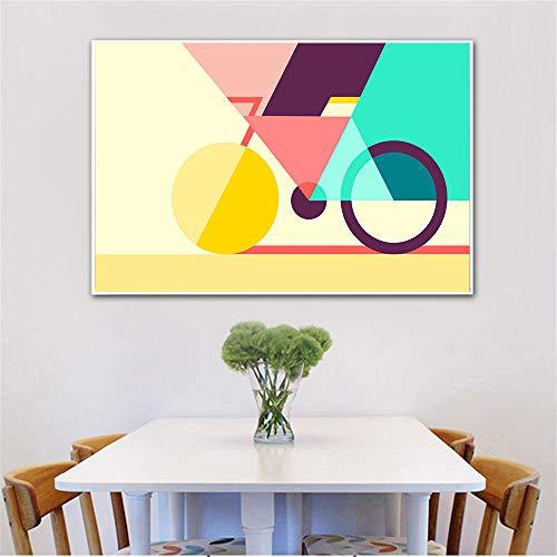 YuanMinglu Sala de Estar Pared Abstracta Lienzo geométrico Arte Bicicleta póster e Impresiones geométrico Creativo nórdico Bicicleta Lienzo Pintura sin Marco 50x75 cm