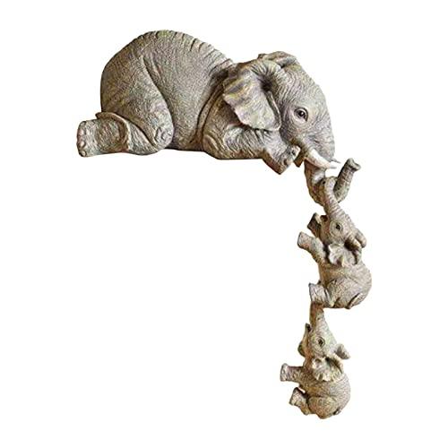 Misis Elefant Deko Babyelefant Hängend Statuen Set Glückselefant Harz Skulptur Tisch Deko Wohnzimmer Dekoration Süßes Home Tierverzierung Tierfiguren Für Innen Und Außen Candid