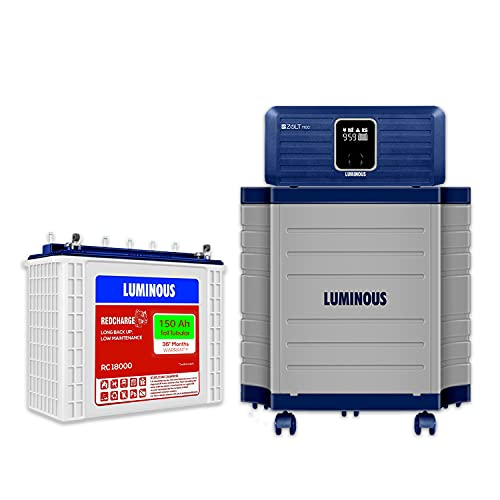 Luminous Inverter & Battery Combo with Trolley for Home, Office & Shops (Zolt 1100 Sine Wave Inverter, RC 18000 150 Ah Tall Tubular Battery)