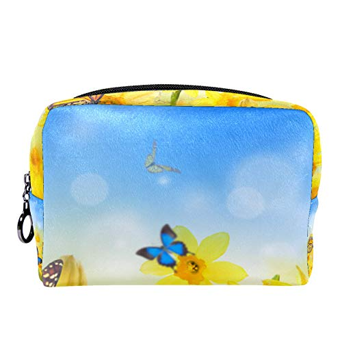 Cosmetic Bag Womens Makeup Bag for Travel to Carry Cosmetics,Change,Keys etc Yellow Daffodils with Butterflies