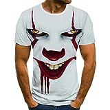 HGFHKL Fondo Blanco Cara roja Payaso impresión 3D Camiseta para Hombre Moda Verano Manga Corta Dibujos Animados Camiseta Fresca Camiseta Divertida con Cuello en o