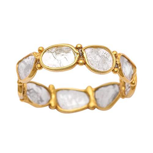 Shine Jewel 1.00 CTW Anillo de Plata esterlina 925 con Diamantes polki de Oro Vermeil de engaste Abierto - Anillo de Oro con Diamantes - Anillo Minimalista - Anillo Minimalista - Alianza de Bo