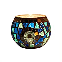 キャンドルホルダー キャンドルスタンド ボールカップガラスランプ手作り モザイクガラス製 ボールカップガーデン 結婚式の装飾告白小道具ホリデーパーティー家の装飾にも最適 (D)
