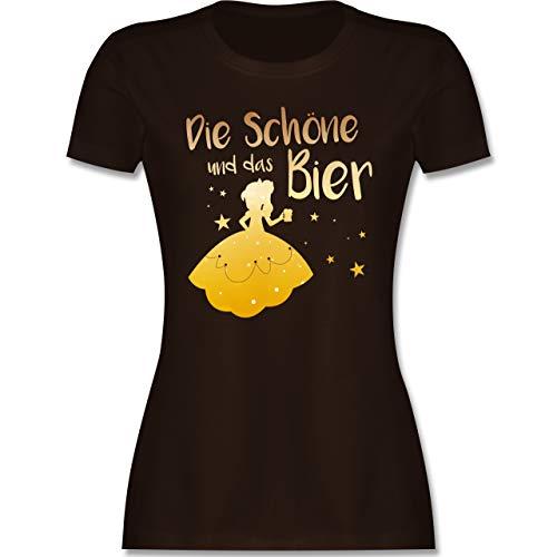 Typisch Frauen - Die Schöne und das Bier - M - Braun - Damen+Tshirt+mit+Spruch+lustig - L191 - Tailliertes Tshirt für Damen und Frauen T-Shirt
