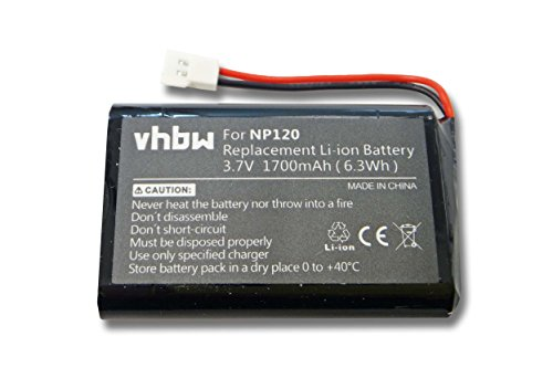 vhbw Li-Ion Akku 1700mAh (3.7V) für Freisprecheinrichtung, Bluetooth Seecode Mirrow 3, Mirrow III, Vossor Phonebook, Vossor Plus, V3 wie NP120.