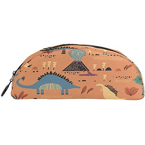 Lustige Dinosaurier-Zeichentrick-Stifte-Tasche aus Segeltuch für Make-up, Kosmetik, Aufbewahrungstasche für Schreibwaren, Reisen
