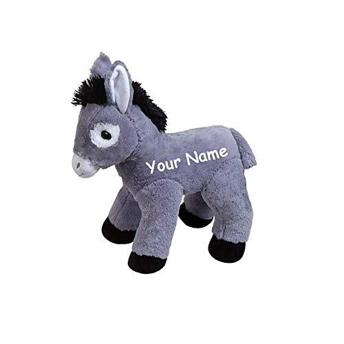 Fiesta Toys Personalized Grey and White Donkey Plush Stuffed Animal Toy with Custom Name