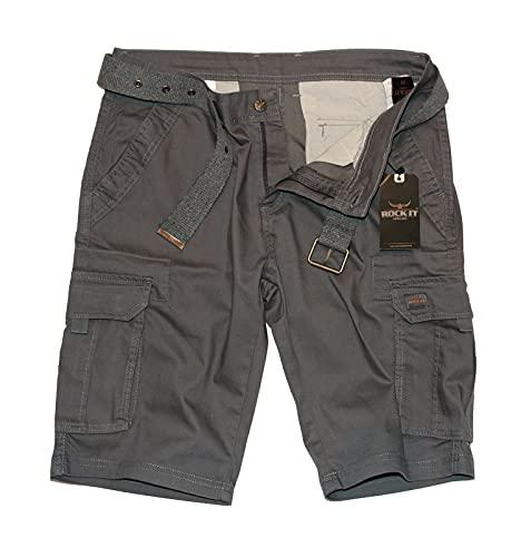 ROCK-IT Apparel Pantaloncini Cargo da Uomo con Cintura Bermuda Vintage con 6 Tasche da chiudere Pantaloni Estivi Corti da Uomo - Taglie S-5XL - Iron X