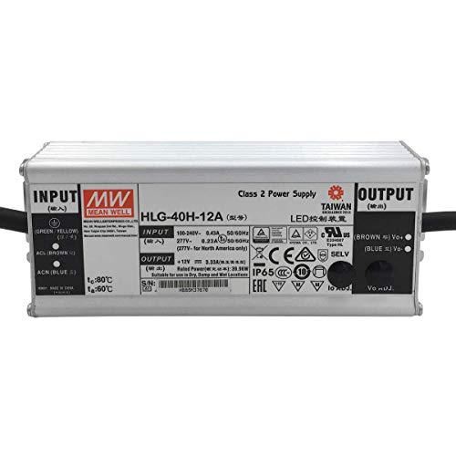 Preisvergleich Produktbild HLG-40H-12A: MEAN WELL LED-Netzteil 40W,  12V,  IP65,  Spannung & Strom einstellbar (12V 40W)