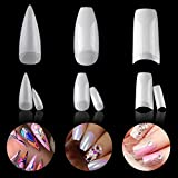 LXIANGN 3 Styles Acrylic Nail Tips Lady French Acrylic Stiletto Nail Tips Natural Artificial Ballerina Nails with Box for Art Salons,300pcs (Natural)
