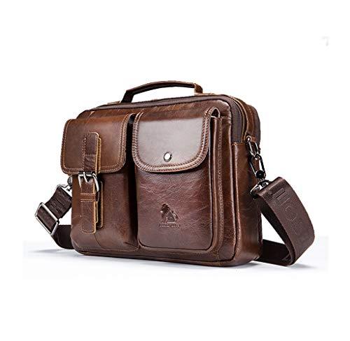 Herren Umhängetasche, Ledertasche Schultertasche, Handtasche, Aktentasche, Laptoptasche Schultasche,Popoti Multifunktional Wasserdicht Leder Vintage Messenger Bag,28cm (Braun)