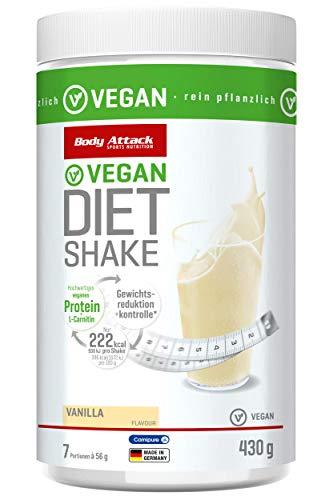Body Attack Diet Shake vegan, hochwertiges pflanzliches Eiweißpulver zum Abnehmen mit Erbsenprotein & Carnipure™ (L-Carnitin), Abnehm Shake als Mahlzeitersatz 430g Made in Germany, (Vanilla, 1x430g)