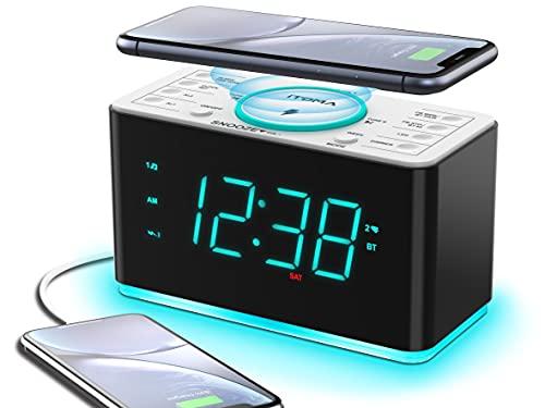 Radiowecker, 15 Watt kabellose Ladegerät Bluetooth, USB-Anschluss, Dual-Alarm, Snooze, Dimmer, 1,4-Zoll-Display Cyan-LED-Nachtlicht iTOMA CKS207