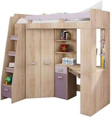 Cabin Bed Bunk Bed Entresole All In One Left Read Stairs Kids Furniture Set Bed Wardrobe Shelf Desk Sonoma Oak Purple Amazon De Home Kitchen