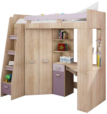 Hochbett/Etagenbett/Entresole – alle in einer links Ablesen Treppen – Kinder Möbel Set. Bett, Kleiderschrank, Regal, Schreibtisch Sonoma Oak - Purple