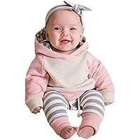 Ropa bebé, 3pcs Conjunto de Ropa para bebé niñas Sudadera con Capucha Tops+ Pantalones + Diadema Conjunto de Trajes 0 Mes - 2 Años (Rosado, Tamaño:3 Mes)
