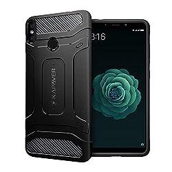 Kapaver Back Cover Case Drop Shock Proof Carbon Fiber Armor Black for Xiaomi Mi A2