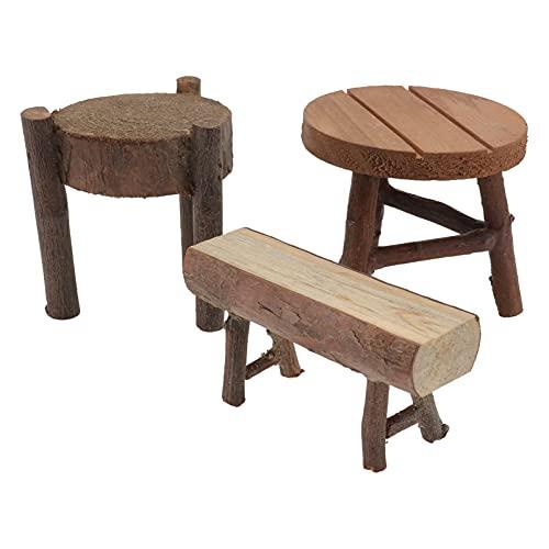Angoily 3 Piezas Accesorios de Decoración de Casa de Muñecas 1: 12 Mini Muebles de Casa de Muñecas Miniatura Taburete Alto Silla de Madera para Casa de Muñecas Escena Cocina Hogar Sala de
