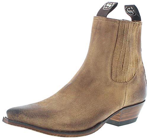 Sendra Boots Herren Cowboy Stiefel 1692 Camello Westernstiefelette Lederstiefel Braun 48 EU