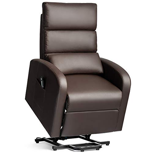 Tangkula Electric Power Lift Recliner Chair, PU Leather Recliner for Elderly, w/Lumbar Cushion, Infinite Position, Side Pocket, Remote Control, Sofa Lounge for Home Theater (Brown)