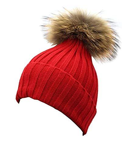 feifanshop feifanshop Damen Echtfell Waschbär Fell Pelz Bommel Strick Mütze Winter-Mütze Bommelmütze (Rot)