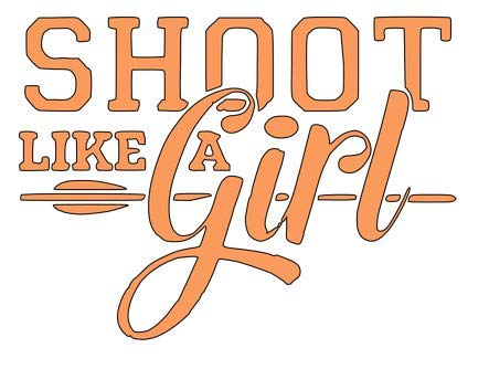 Vinyl-Aufkleber, Motiv Claremore Shoot Like a Girl (englischsprachig), 14 x 11,4 cm, Orange