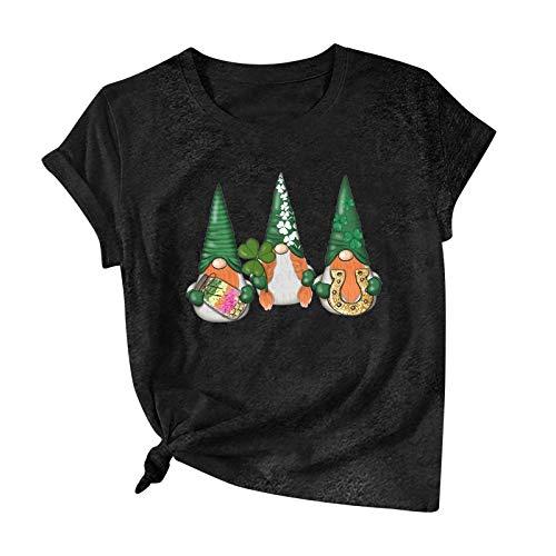 Blusa para Mujer, Camiseta Informal de Manga Corta de algodón con Estampado del día de San Patricio para Mujer, Camisetas, Ropa para Mujer (3XL Negro)