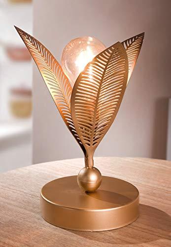 """LED-Blüte """"Goldy"""", Deko Tischlampe aus Metall, gold, batteriebetrieben, Dekoleuchte Metallblume, Lichtobjekt, Stimmungslicht"""