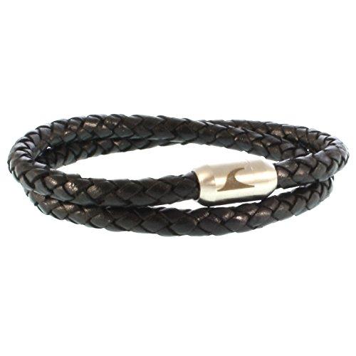 WAVEPIRATE® Echt Leder-Armband Hawaii G Schwarz/Silber 45 cm Edelstahl-Verschluss in Geschenk-Box Surfer Männer Herren